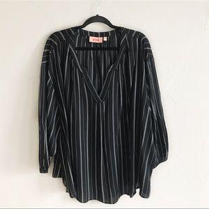 Evri 4X Black Striped Blouse